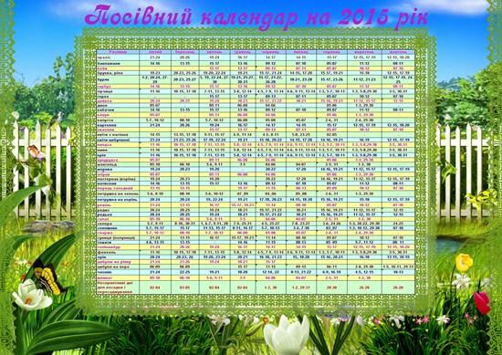 Посівний календар на 2015 рік