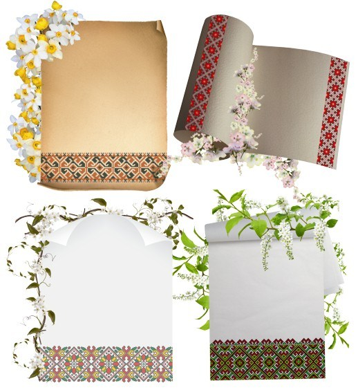 Весняні шаблони аркушів з українською вишивкою