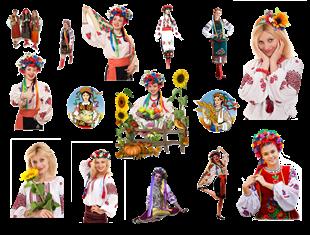 Українка в національному костюмі - кліпарт
