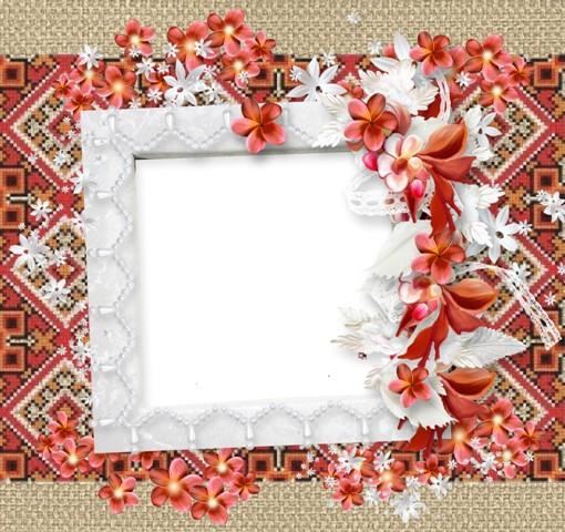 Рамка для фото - Вишиванка з квітами