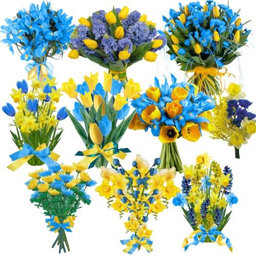Жовто-блакитні букети