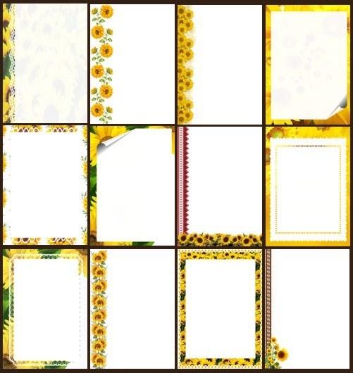 Аркуші для тексту з соняшниками