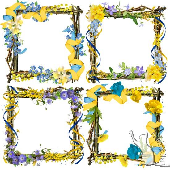 Рамки з квітами і стрічками
