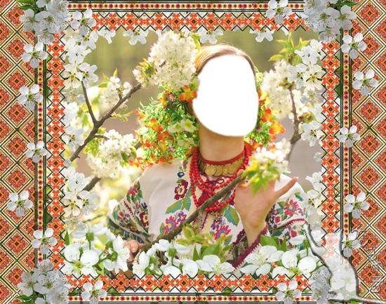 Шаблон і рамка для фото - Весняна вишиванка